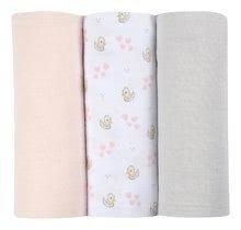 Textilní pleny z bavlněného mušelínu Cotton Muslin Cloths Beaba Cygne sada 3 kusů 70*70 cm od 0 měs růžové