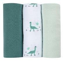 Textilní pleny z bavlněného mušelínu Cotton Muslin Cloths Beaba Jurassique sada 3 kusů 70*70 cm od 0 měs zelené