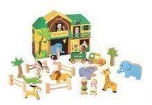 Dřevěná stavebnice Safari Story Set Box Janod se zvířátky 19 dílů