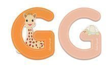 Drevené písmeno G Sophie The Giraffe Janod lepiace 7 cm oranžové/ružové