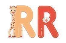 Drevené písmeno R Sophie The Giraffe Janod lepiace 7 cm  oranžové/červené