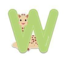 Drevené písmeno W Sophie The Giraffe Janod lepiace 7 cm zelené