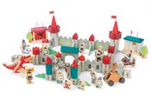 Dřevěný královský hrad Royal Castle Tender Leaf Toys 100dílná sada s rytíři, koňmi a drakem