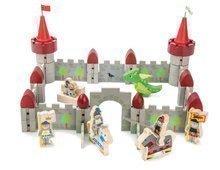 Dřevěný hrad Dragon Castle Tender Leaf Toys 59dílná sada se drakem a vojáky