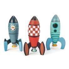 Dřevěné skládací rakety Rocket Construction Tender Leaf Toys kreativní hra 3 druhy, 18 dílů