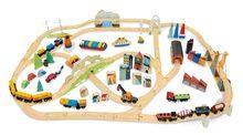 Drevená vláčikodráha vysokohorská Mountains View Train Set Tender Leaf Toys cesta okolo sveta cez mesta a hory 58 dielov a doplnky 145*98*21 cm TL8703